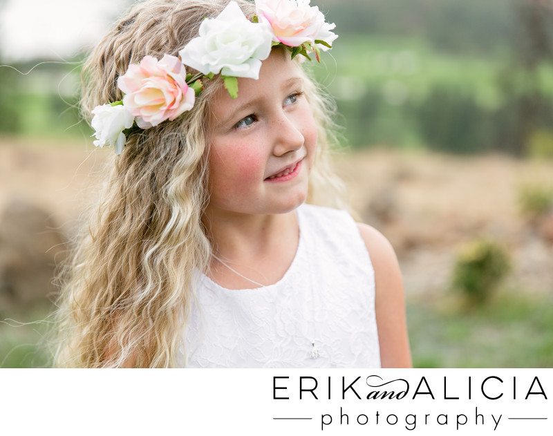 flower girl with flower wreath