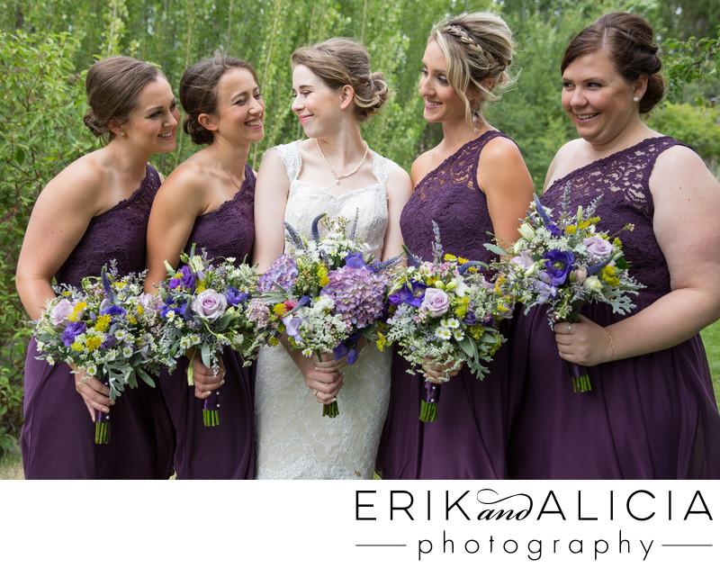 plum lace off the shoulder bridesmaids
