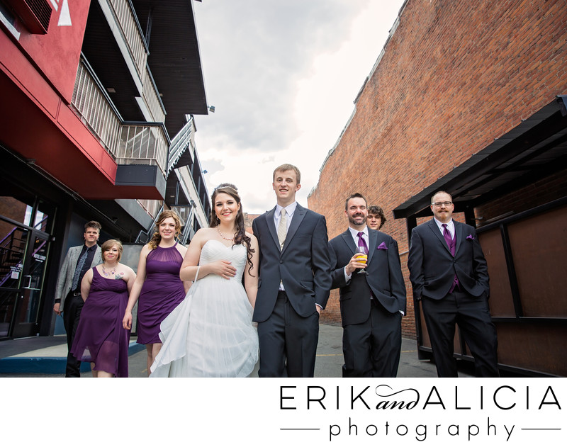 bridal party alley walk downtown spokane ruby hotel