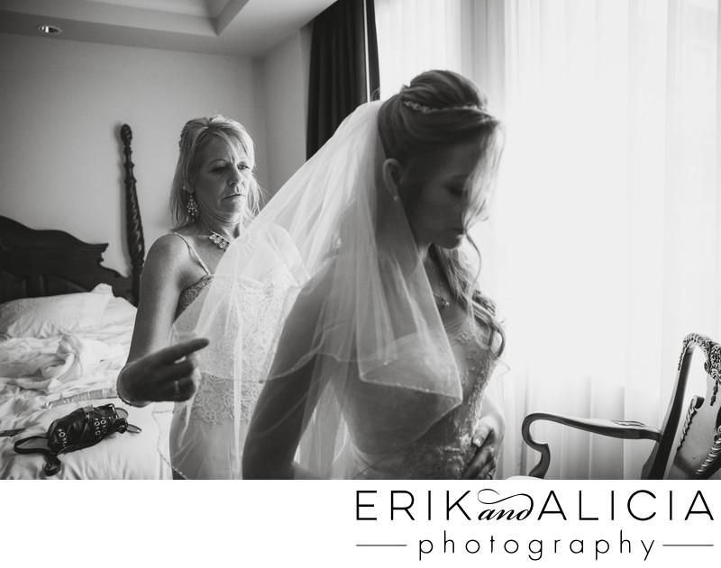 mother of bride adjusting veil