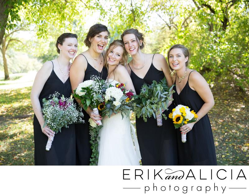 diy bouquets bridesmaids in black dresses