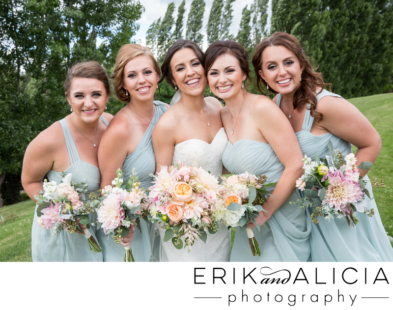 Minty blue bridesmaid dresses outside