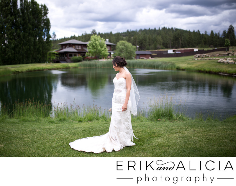 high aperture portrait of bride at pond Beacon Hill