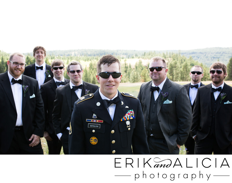 Wedding day Army soldier with backup