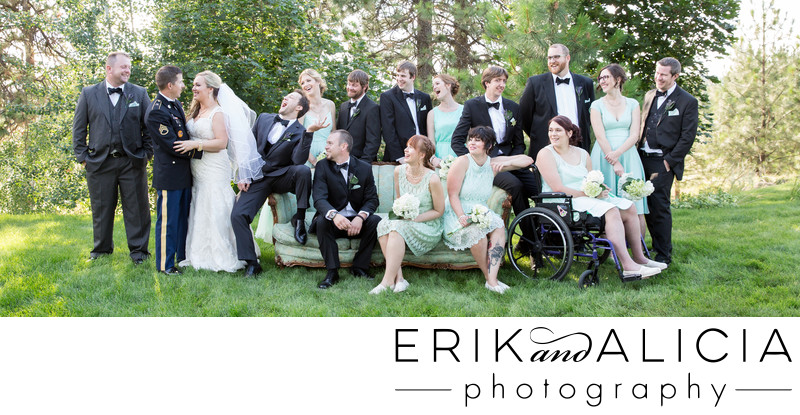 full bridal party photo outside on couch