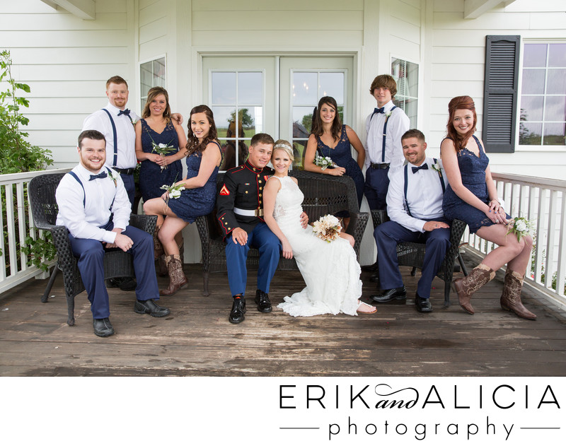Bridal party dressed in navy blue