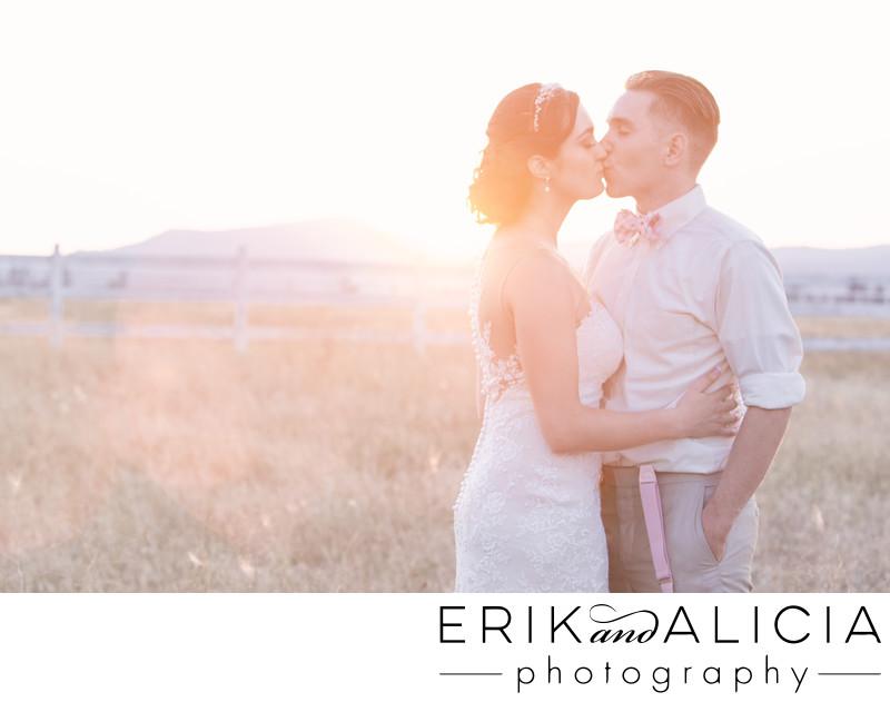 pastel sunset bridal kiss