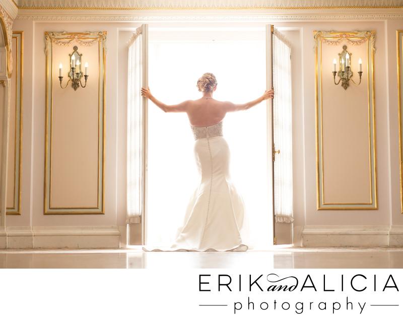 Davenport luxury hotel ballroom bride in glowing light