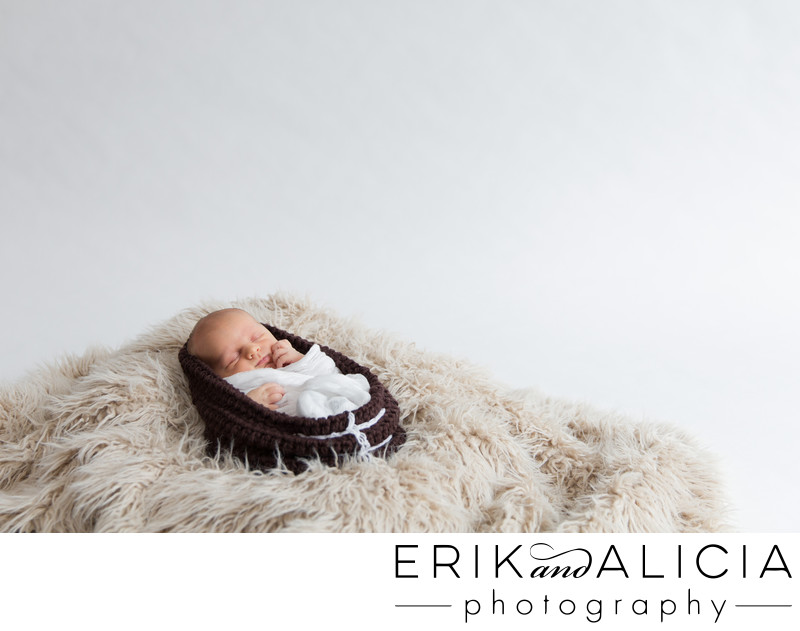 brown knit wrap newborn boy