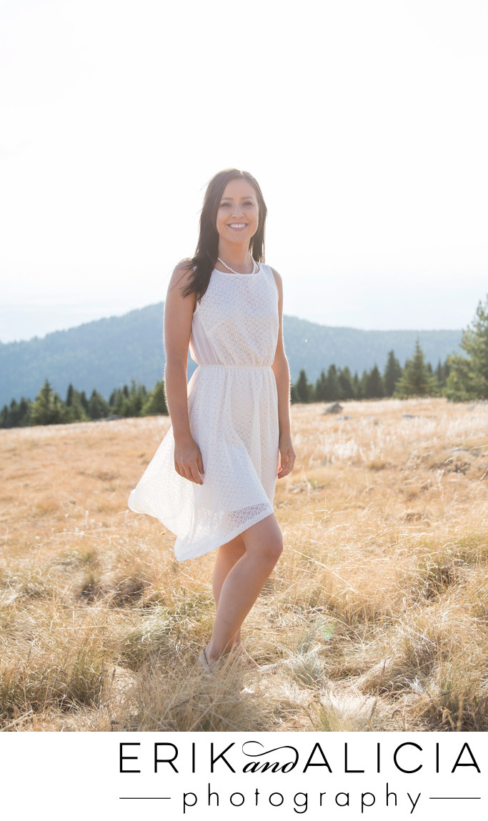 little white dress engagement mountain top