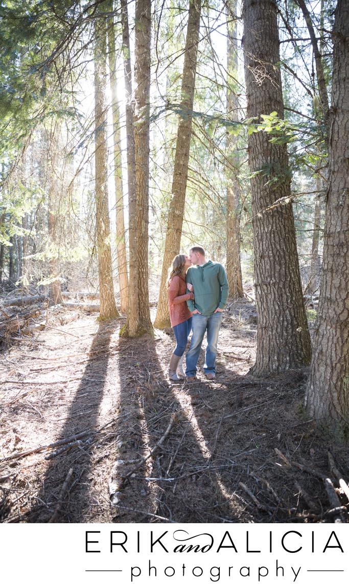 pine tree kiss engagement