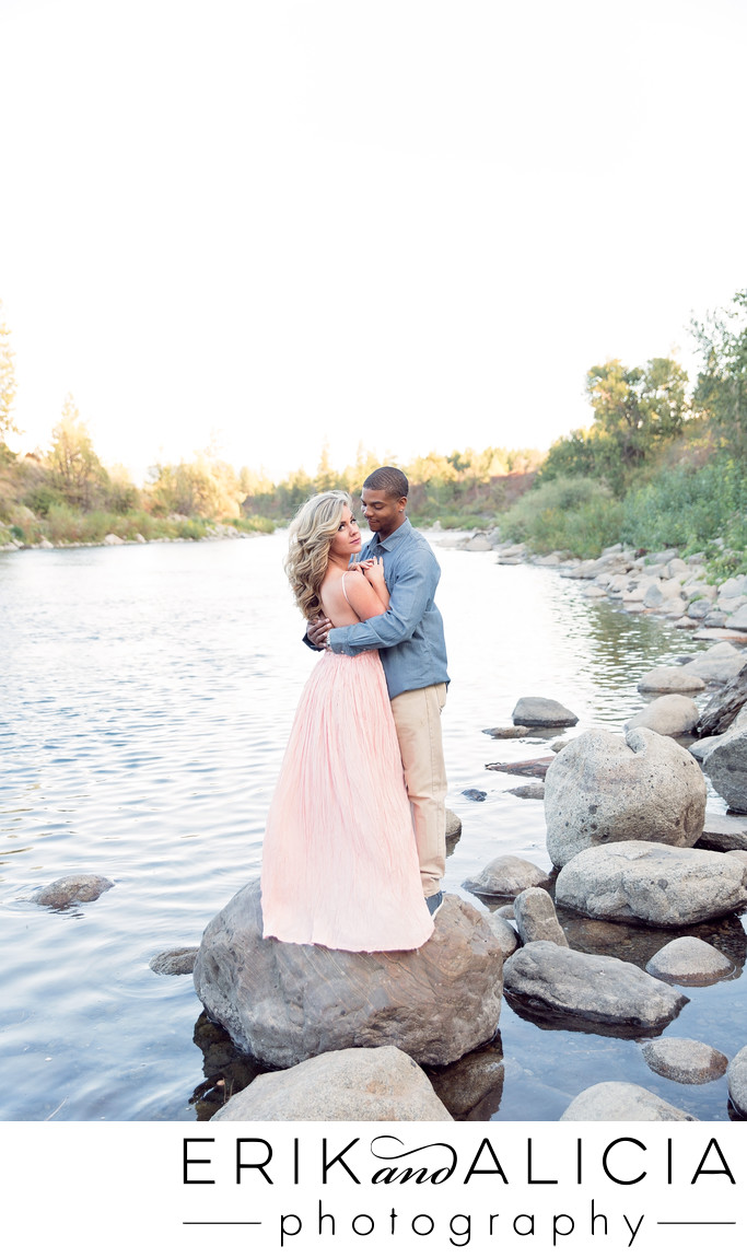pink gown spokane river engagement