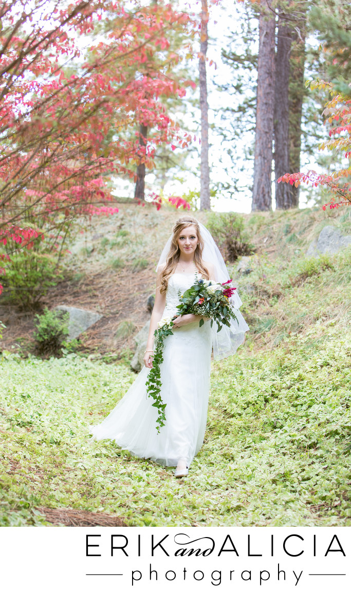 bride elegant walk with long diy bouquet