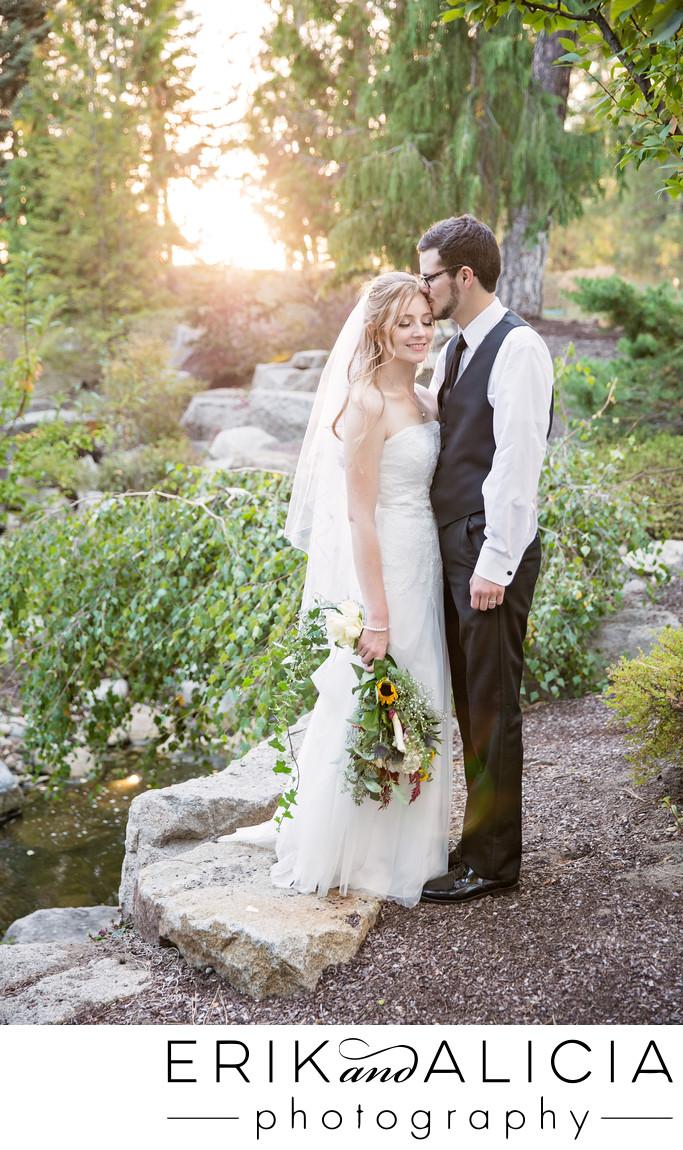 romantic sunset wedding day bridal portrait