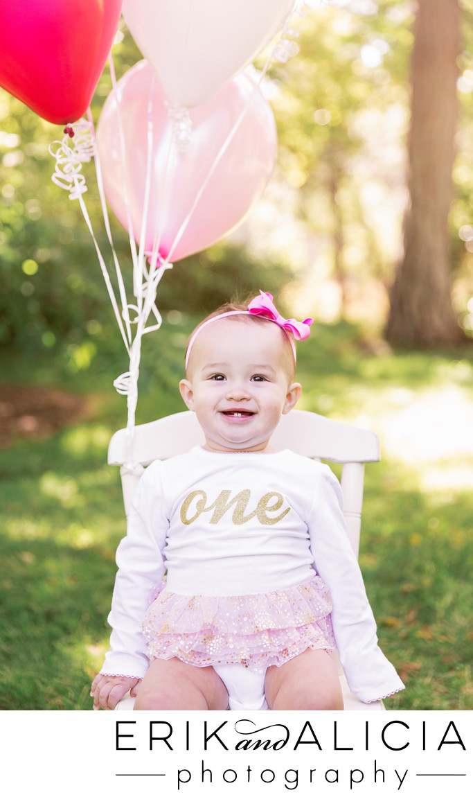 daughter turns one onesie pink balloons