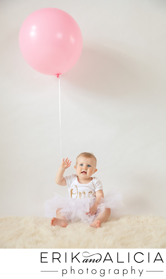 first birthday balloon and wave
