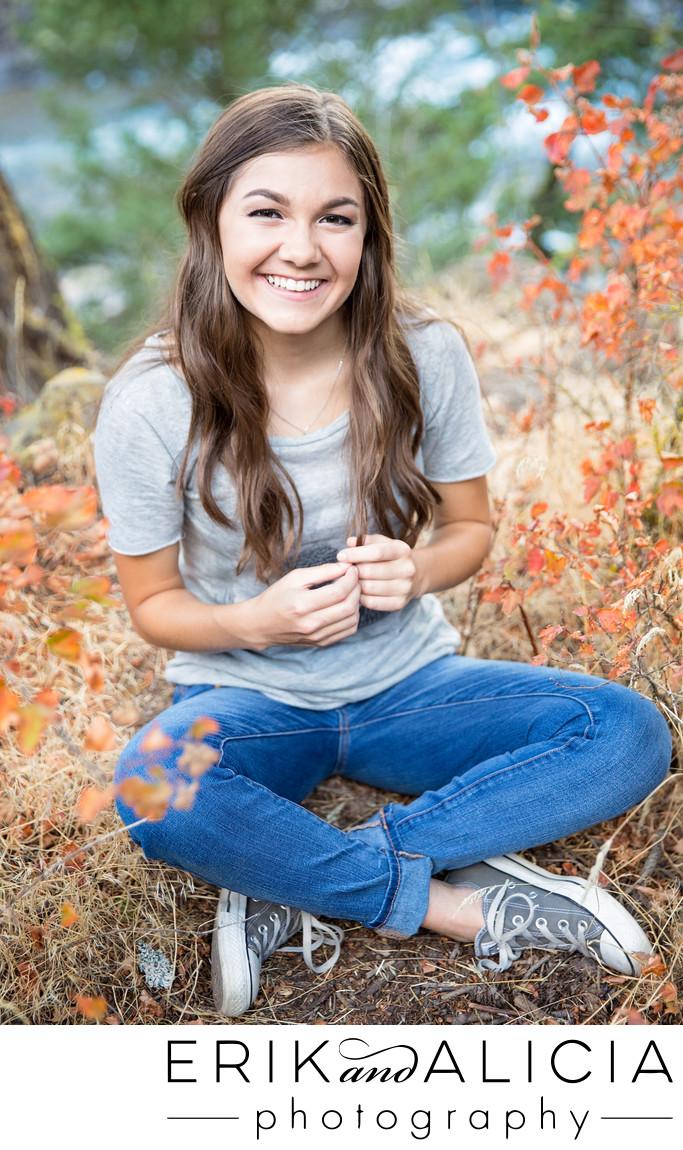 jeans and t-shirt flirty smile senior girl