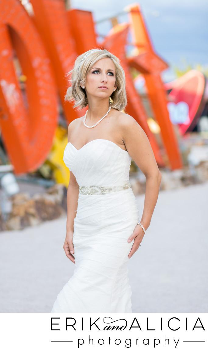 Gorgeous bride looking to future, Neon Museum Las Vegas