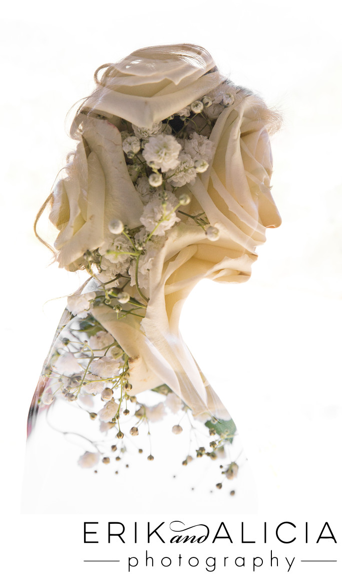 Double exposure silhouette of bride and roses