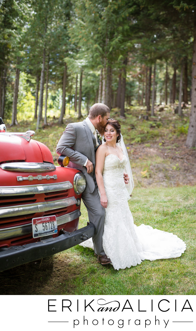amazing old red pickup truck in wedding portrait