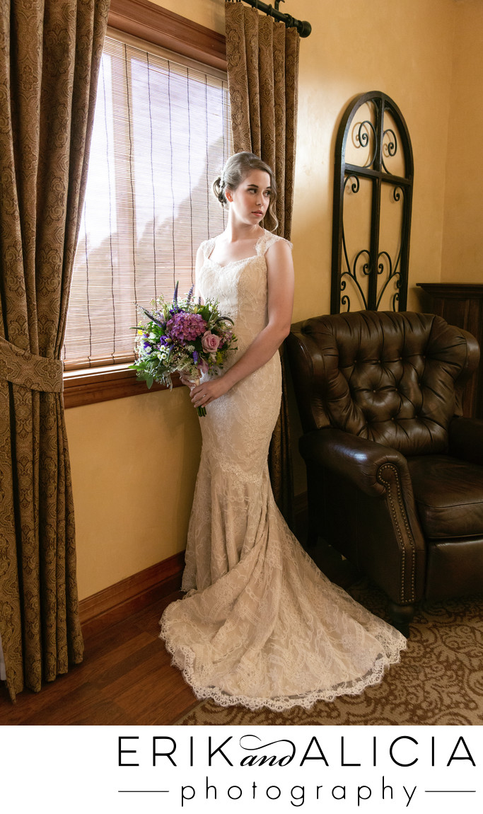 lace wedding dress in bridal suite beacon hill
