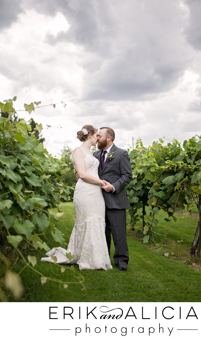 Beacon Hill wedding day kiss in vineyard