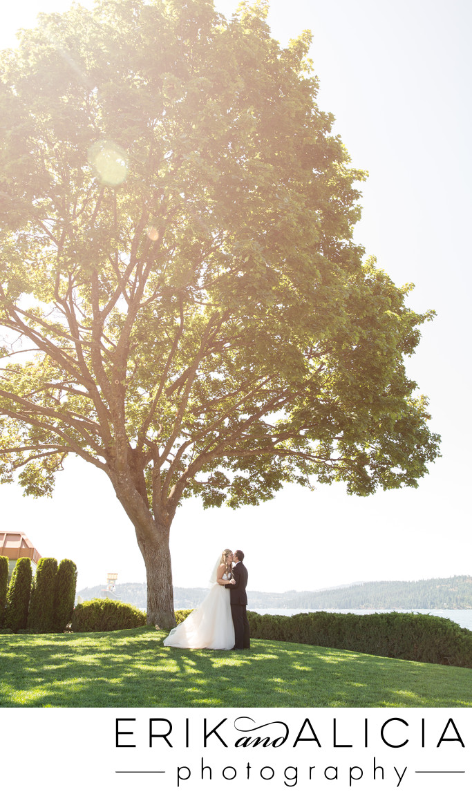Kissing under big tree at coeur d'Alene lake