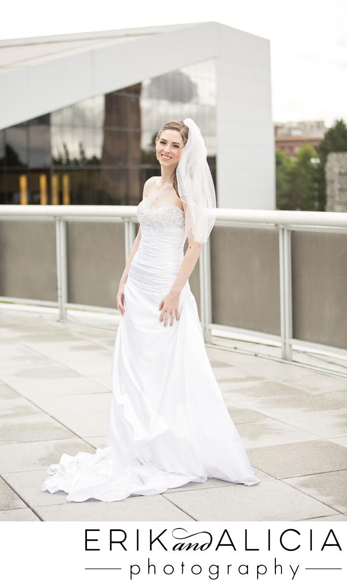 Bride portrait Spokane Convention Center roof deck