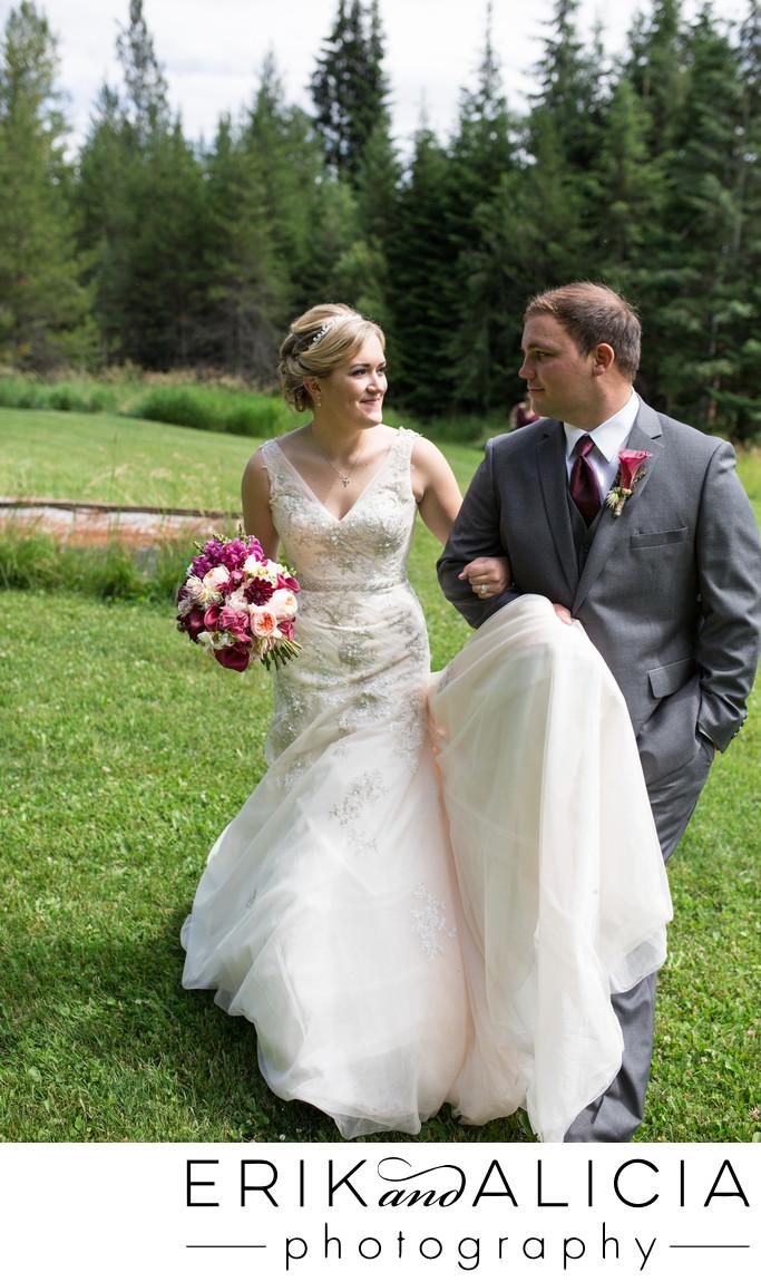 Groom walking with bride Quail Run Ranch