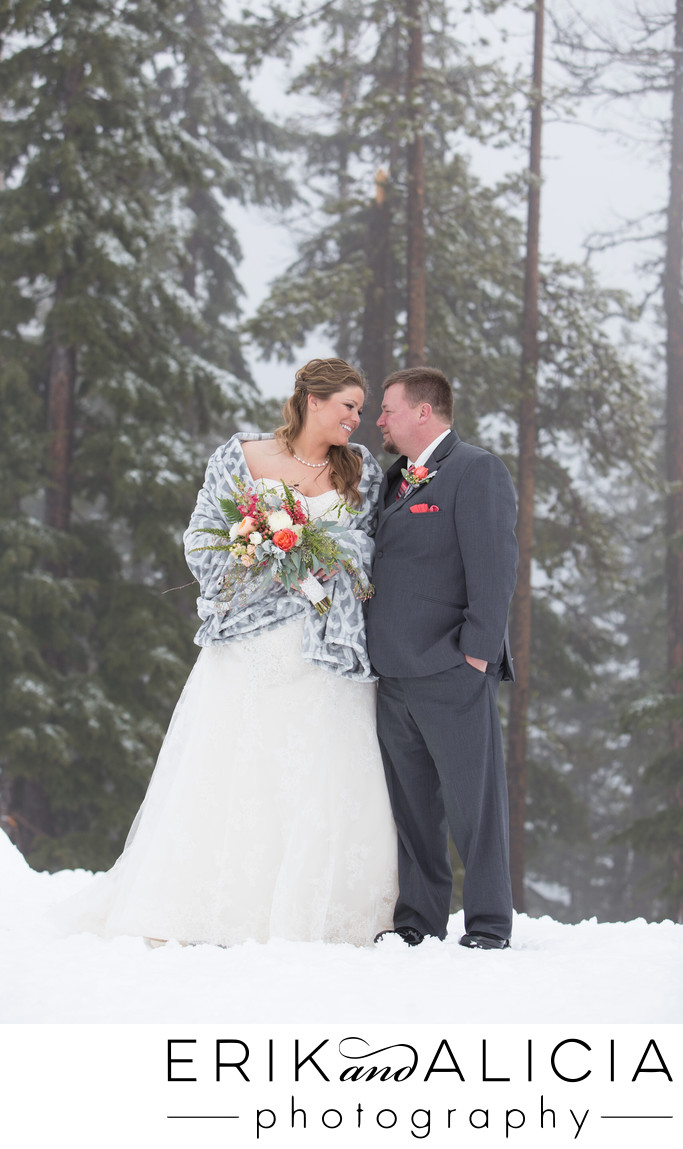 snow covered mountain top wedding portrait