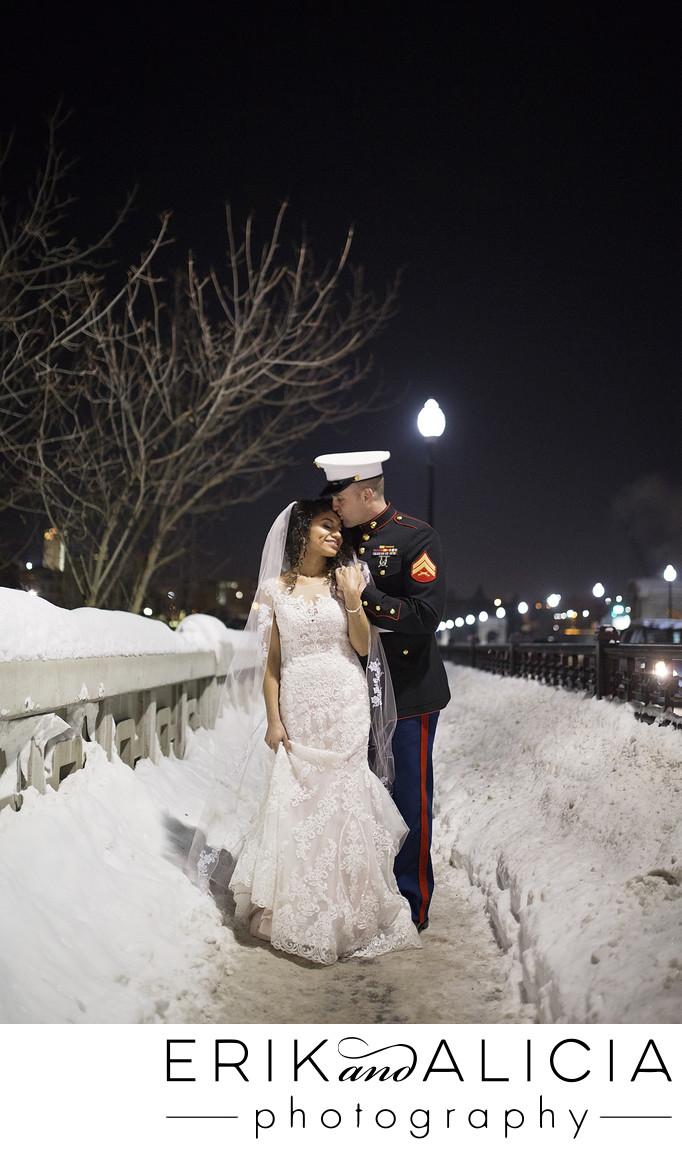 US Marine night time wedding portrait