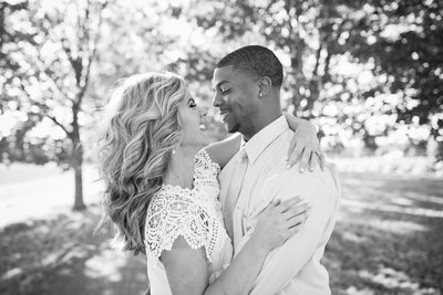 B&W engagement smiles in green bluff washington