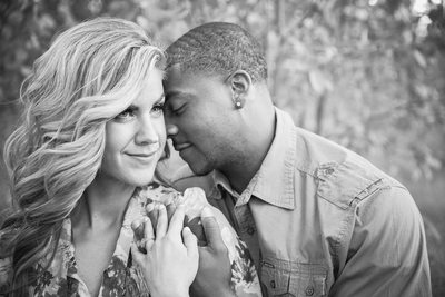 black and white engagement nuzzle