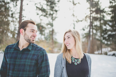 Flannel shirt snowy engagement