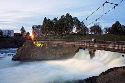 Spokane River Falls grand bridge engagement photo
