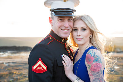 Soldier with great smile and bride with roses tattoo
