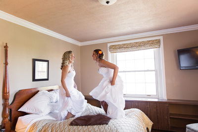 jumping lesbian brides on bed