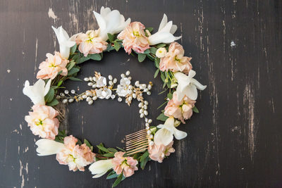 wedding day wreath of flowers