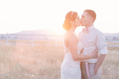 pastel sunset bridal kiss