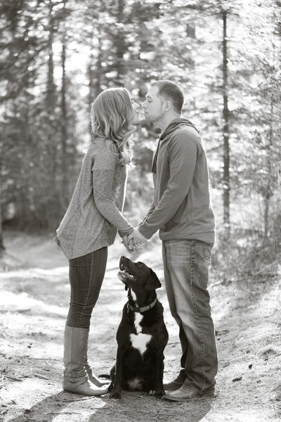 engagement kiss with dog baby