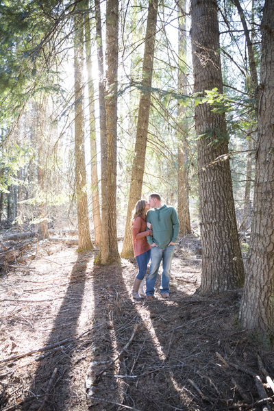 pine tree kiss engagement