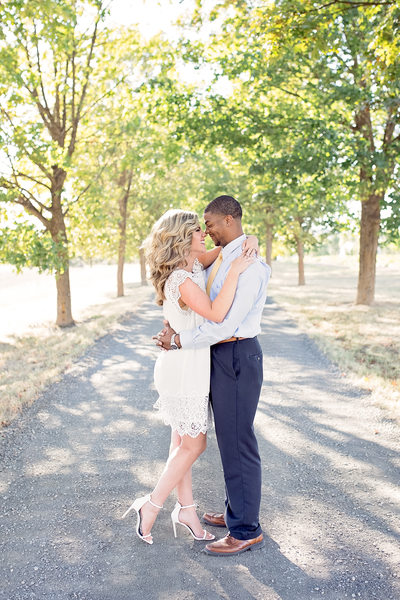 little white dress embrace
