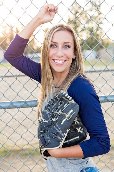 senior softball girl with her glove
