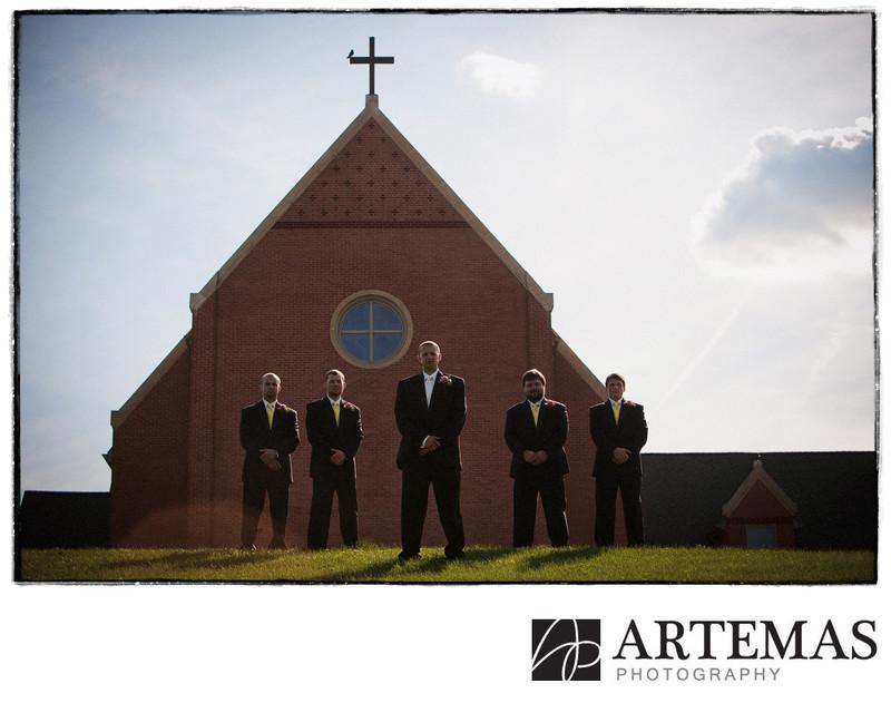 Hanover PA wedding photographer groomsmen church
