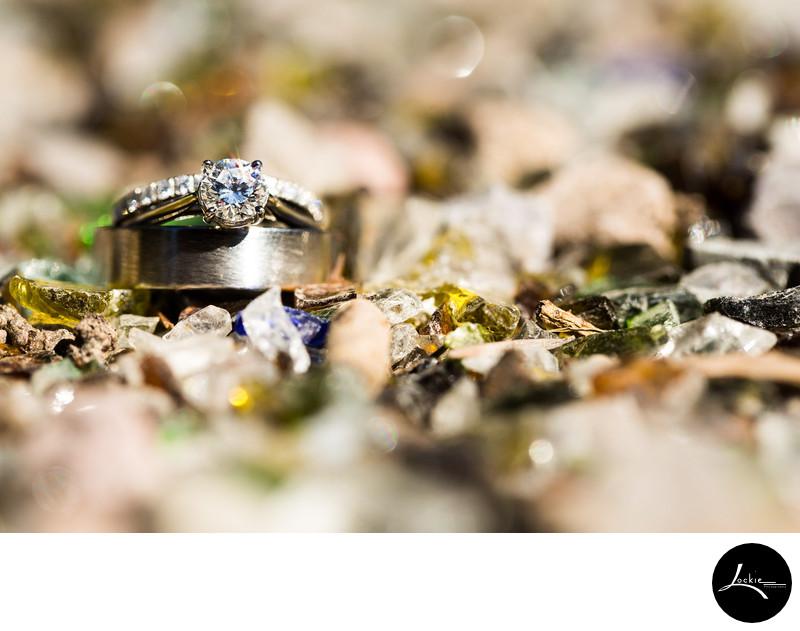 Sparkly wedding ring shots Montana wedding photographer