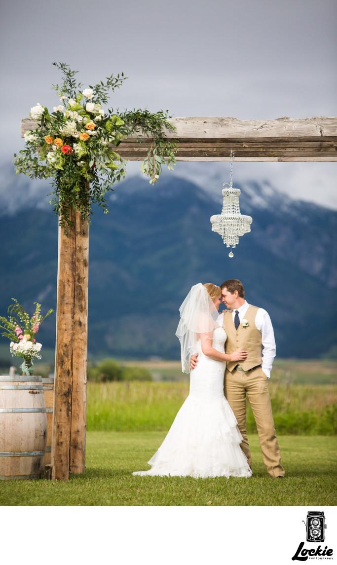 Rustic wedding archway Top Montana wedding Photographers