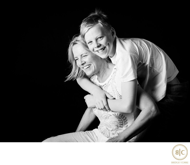 Black and White Family Photograph of Bridget Corke and Sebastian Captured in Studio