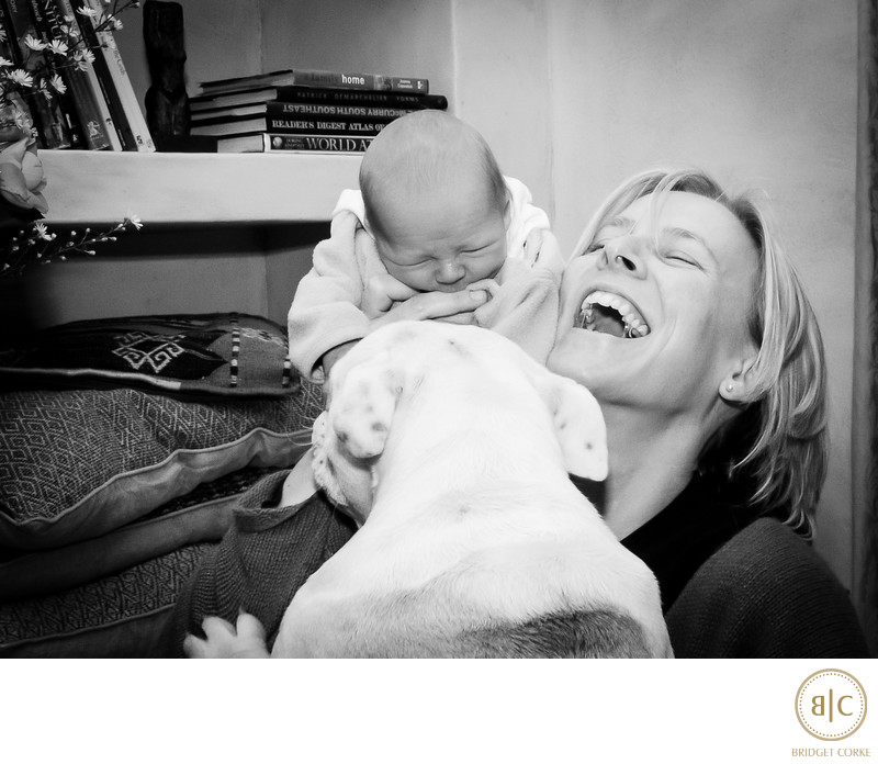 Bridget Corke and Her Sebastian with Blossom Bulldog Family Photograph