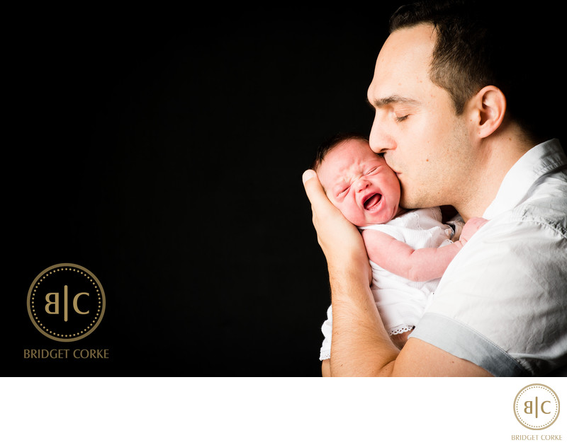 Newborn Daughter and Father in Johannesburg Studio