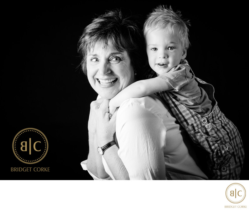 Spontaneous Grandmother & Grandson Studio Photography